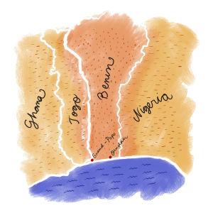 Beninin kartta piirrettynä