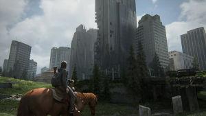 Ellie ratsastaa rapistuneiden pilvenpiirtäjien keskellä.