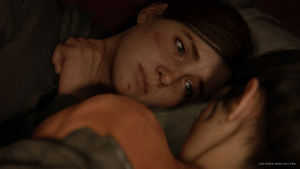 Ellie lepää Dinan kanssa.