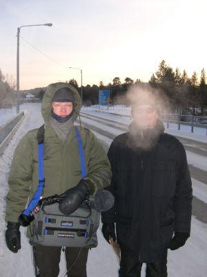 Kai Rantala ja Hannu Karisto äänityksissä Inarissa talvella