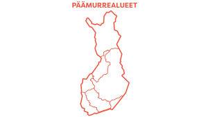 Graafinen kartta, joss näkyvät Suomen 7 päämurrealuetta.