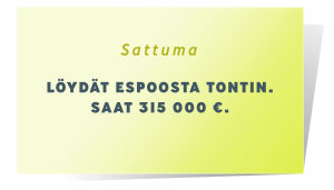 Sattuma kortti, jossa lukee: Löydät Espoosta tontin. Saat 315 000 euroa