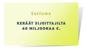 Sattuma kortti, jossa lukee: Keräät sijoittajilta 40 miljoonaa euroa.