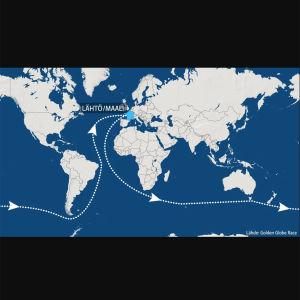 Maailmanympäripurjehduksen lähtö ja maali Ranskassa
