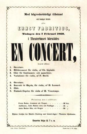 Ernst Fabritiuksen konsertti-ilmoitus 1860.