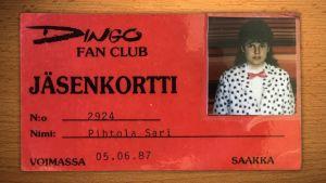 Sari Pihtolan Dingo fan club -kortti