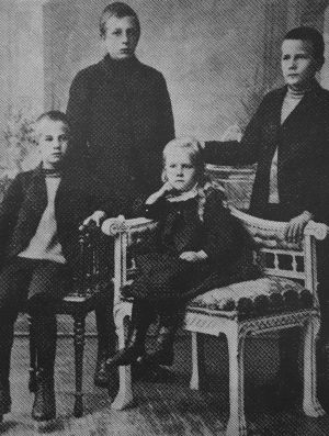 Ernst Linko ja sisaruksensa Tampereella 1890-luvulla.