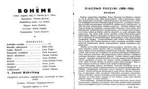 Oopperan La bohème käsiohjelma 21.2.1943. Suomen Kansallisooppera.