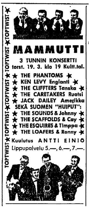 Mammutti-Top-Twist-konsertin mainos Helsingin Sanomissa 1964.