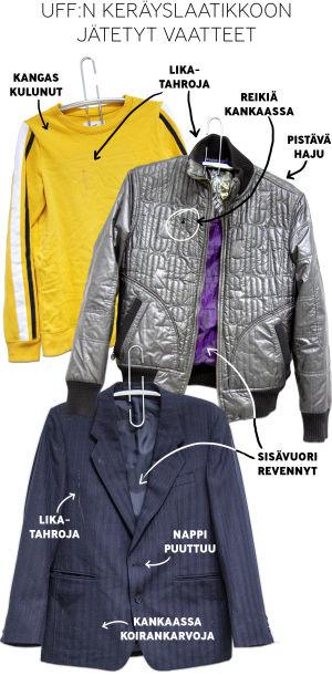 UFFille kierrätykseen jätetyt vaatteet: keltainen paita, hopeanvärinen takki ja miesten puvuntakki.