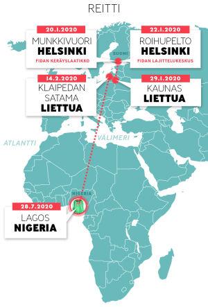 Fidan keräyslaatikkon jätetyn hupparin reitti Helsingistä Liettuan kautta Nigeriaan.