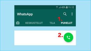 Kuvakaappaus Whatsapp-sovelluksesta: Ryhmävideopuhelu avataan kohdasta Puhelut ja sieltä luuri-ikonista.ikonista.
