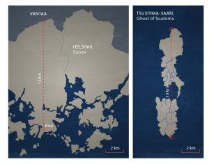 Kuvassa näkyy Helsingin kartta ja Tsushiman saaren kartta.