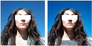 Vasemmalla Minnan alkuperäinen kasvokuva. Oikealla huijarin muokkaama kuva, jossa Minnan huulia on muokattu.