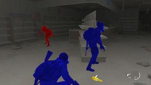 Kuva The Last of Us Part 2 -pelistä, jossa hahmojen värit on säädetty sinisiksi ja punaisiksi.