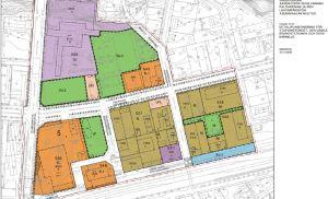 En planläggningskarta i olika färger.
