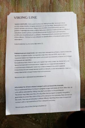 En bild av brevet från Viking Line till åkerierna.