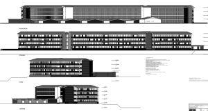En ritning över fasaderna åt fyra olika väderstreck på en bostadsbyggnad i flera våningar.