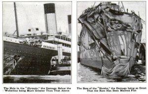 Kollision mellan fartygen Olympic och Hawke.