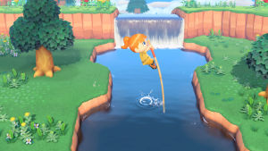 Kuva Animal Crossing -pelistä, jossa hahmo loikkaa joen yli.