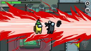 Kuva Among Us -pelistä, jossa punaiset lieskat peittävät kaksi hahmoa.