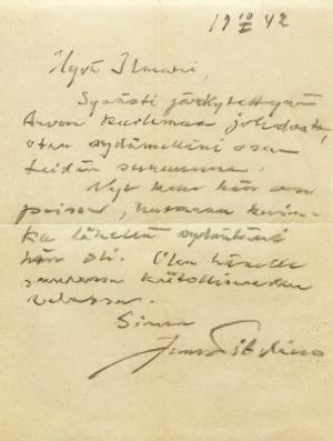 Jean Sibeliuksen kirje Ilmari Hannikaiselle 10.2.1942.