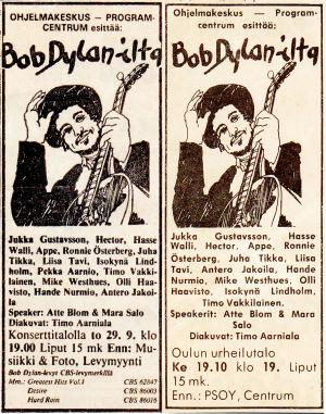 Ohjelmakeskuksen Bob Dylan -kiertueen lehti-ilmoituksia.