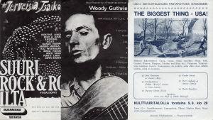 Ohjelmakeskuksen teemakonserttien mainoksia: Terveisiä Tsaikovskille, Woody Guthrie -ilta, The Biggest thing - USA.