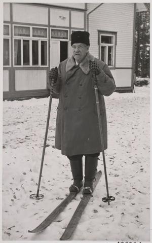Presidentti P.E. Svinhufvud lähdössä hiihtämään.