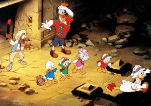 Disneyn ankkahahmoja aarteen etsinnässä