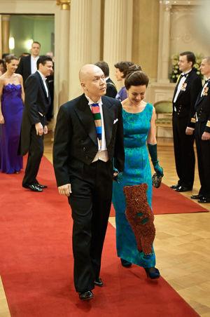 Marko Ahtisaari ja Lisa Sounio Linnan juhlissa vuonna 2012.