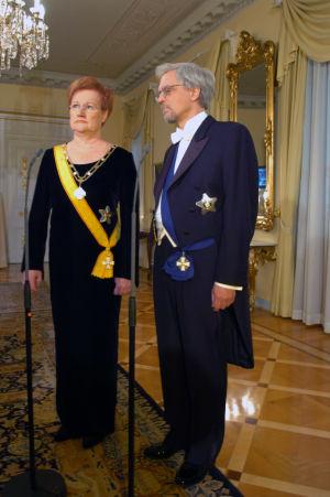 Presidentti Tarja Halonen Linnan juhlissa 2004.