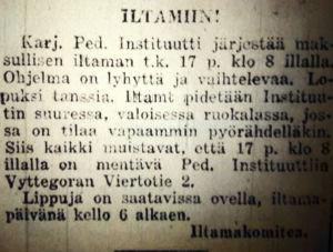 Ilmoitus iltamista Punaisessa Karjalassa 17.4.1932.