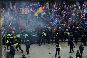 Demonstranter med flaggot.