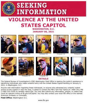 FBI publicerade 8.1.2021 ett plakat med efterlysning av personer som kopplas till stormningen av Capitolium 6.1.2021