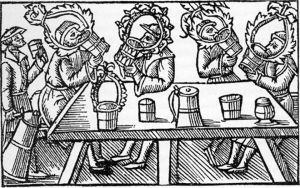 Olaus magnuksen kuva olutta juovista ihmisistä 1500-luvulta