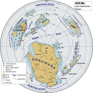 Karta över världen under ordovicium.