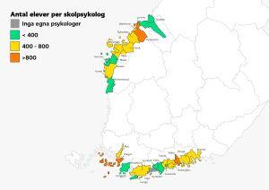 Karta som visar tillgången till skolpsykolog per kommun.