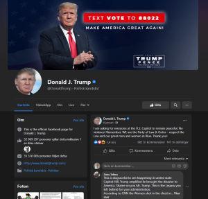 Skärmdump på Trumps Facebooksida.