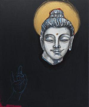 Krista Launosen maalaus Buddhan pää