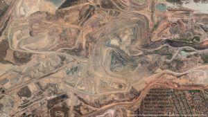 Satellitbild av gruvområde i Kolwezi i Demokratiska republiken Kongo.