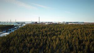 Drönarbild av Karleby industriområde och omkringliggande skog.
