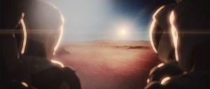 Konstnärens vision av astronauter på Mars.