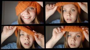 Neljä kuvan sarja tytöstä pipo päässä, eri ilmeitä