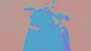 Abstrakti sininen hahmo.