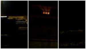 Kovin on pimeää, pieni valonkaje kaukana, ehkä kerrostalon asunnon ikkunasta.