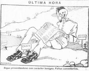 Illustration av Spanska sjukan i form av en död soldat, från en spansk tidning 1918.