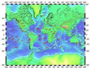 Karta över världens kända vulkaniska hetfläckar.