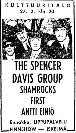 Helsingin Sanomien ilmoitus Spencer Davis Groupin konsertista Helsingin Kulttuuritalolla vuonna 1967.