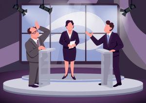 Datorbild av två personer som debatterar i en TV-studio.